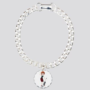 Young girl with vacuum c Charm Bracelet, One Charm