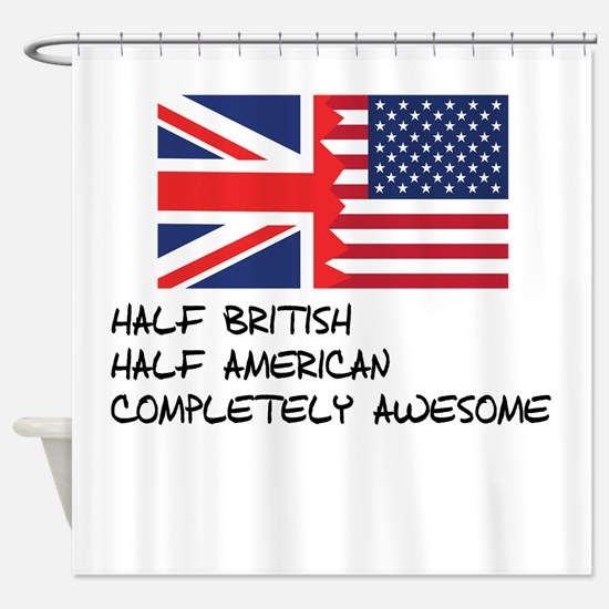 Half British Completely Awesome Shower Curtain