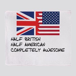 Half British Completely Awesome Throw Blanket