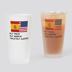 Half Spanish Completely Awesome Drinking Glass