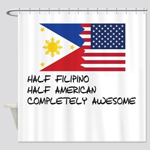 Half Filipino Completely Awesome Shower Curtain