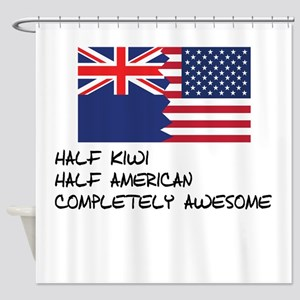 Half Kiwi Completely Awesome Shower Curtain