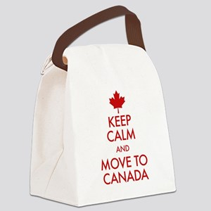 Keep Calm Move to Canada Canvas Lunch Bag