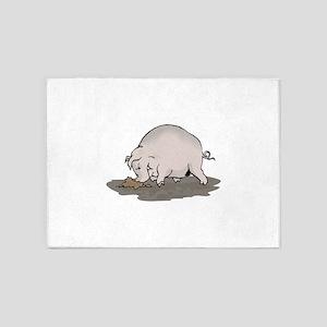 Pig Digging in Mud 5'x7'Area Rug
