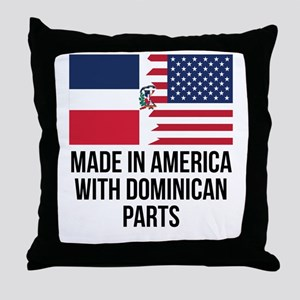Made In America With Dominican Parts Throw Pillow