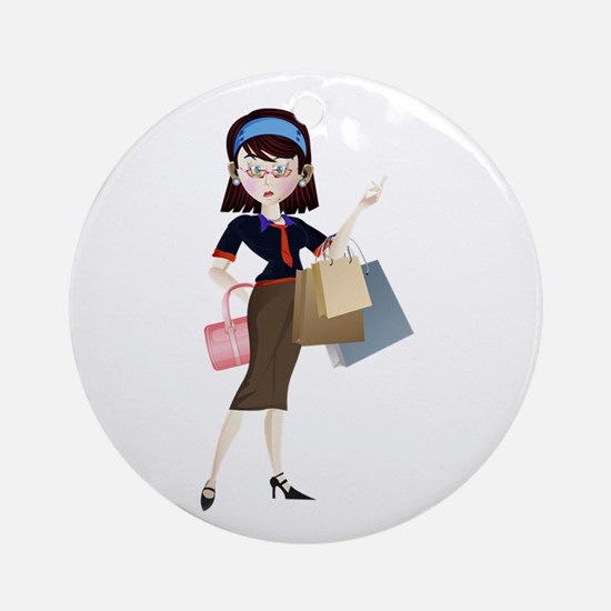 Young shopping girl cartoon Round Ornament
