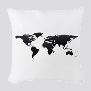 World map Woven Throw Pillow
