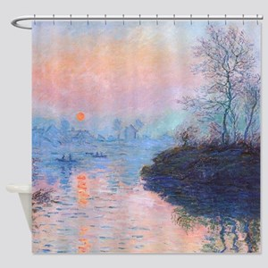 Sunset, Seine at Lavacourt Shower Curtain