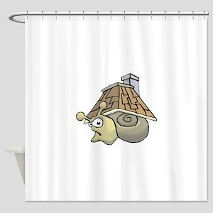 Snail House on backside Shower Curtain