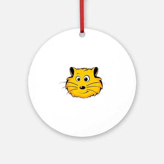 Comic Hamster Face Round Ornament