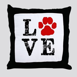 Love with a paw Throw Pillow
