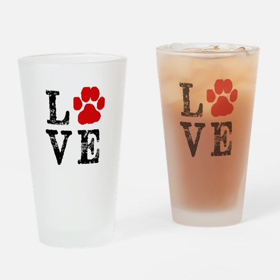 Love with a paw Drinking Glass