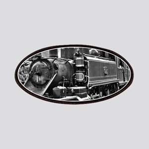 Black and White Vintage Steam Train Engine Patch