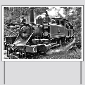 Black and White Vintage Steam Train Engine Yard Si