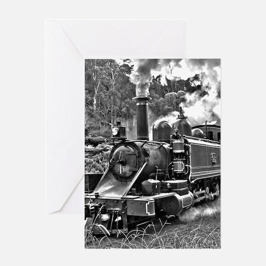 Black and White Vintage Steam Train Engine Greetin