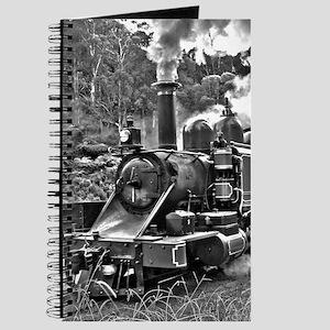 Black and White Vintage Steam Train Engine Journal