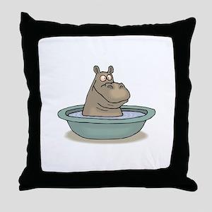 Hippo Bathing in tub Throw Pillow