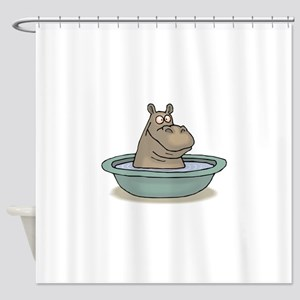 Hippo Bathing in tub Shower Curtain