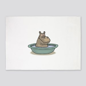 Hippo Bathing in tub 5'x7'Area Rug