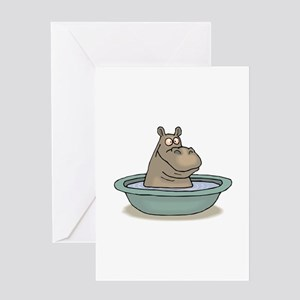 Hippo Bathing in tub Greeting Cards