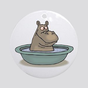 Hippo Bathing in tub Round Ornament