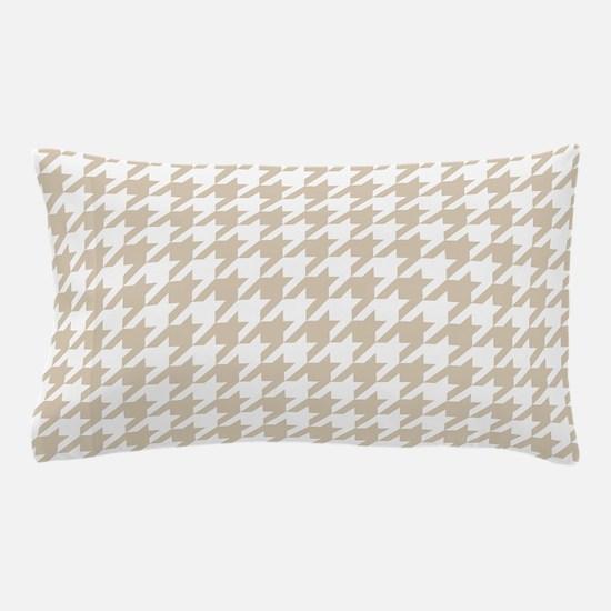 Brown, Beige: Houndstooth Pattern Pillow Case