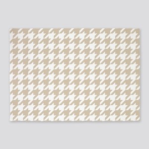 Brown, Beige: Houndstooth Pattern 5'x7'Area Rug