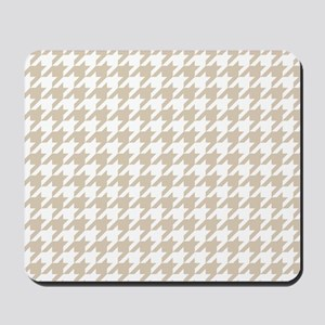 Brown, Beige: Houndstooth Pattern Mousepad
