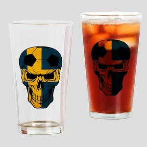 Sweden Soccer skull Drinking Glass
