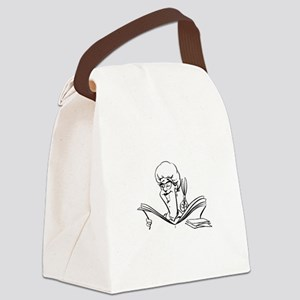 Lady reading paper Canvas Lunch Bag