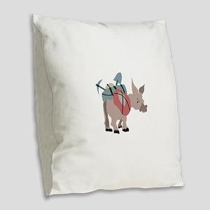 Pack Mule Burlap Throw Pillow
