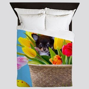 Easter Chihuahua Queen Duvet