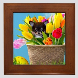 Easter Chihuahua Framed Tile