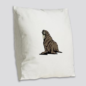 Walrus sitting Burlap Throw Pillow