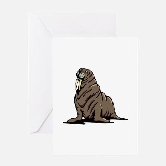 Walrus sitting Greeting Cards