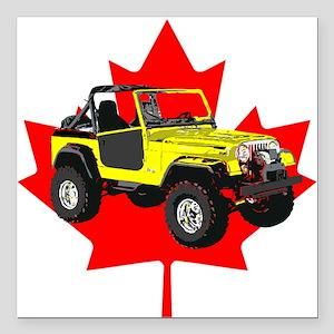 "Maple Leaf CJ Square Car Magnet 3"" x 3"""