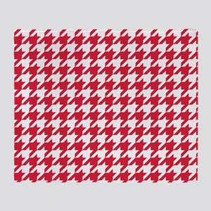 Red, Cherry: Houndstooth Checkered P Throw Blanket