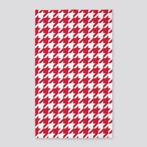 Red, Cherry: Houndstooth Checkered Patter Area Rug