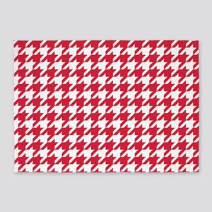 Red, Cherry: Houndstooth Checkered 5'x7'Area Rug