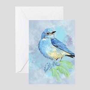 Watercolor Bluebird Blue Bird Art Greeting Cards