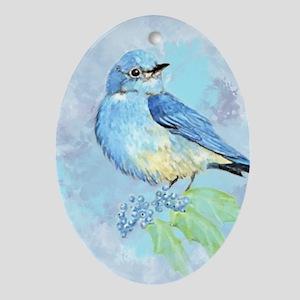 Watercolor Bluebird Blue Bird Art Oval Ornament