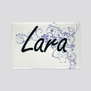 Lara surname artistic design with Flowers Magnets