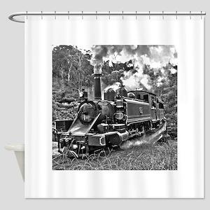Black and White Vintage Steam Train Shower Curtain