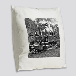 Black and White Vintage Steam Burlap Throw Pillow