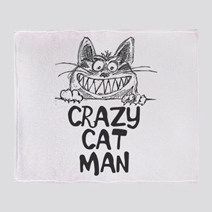 Crazy Cat Man Throw Blanket