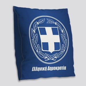 Greece Burlap Throw Pillow