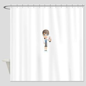 Cartoon Female Doctor Character hol Shower Curtain