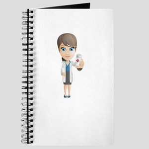 Cartoon Female Doctor Character holding Pi Journal