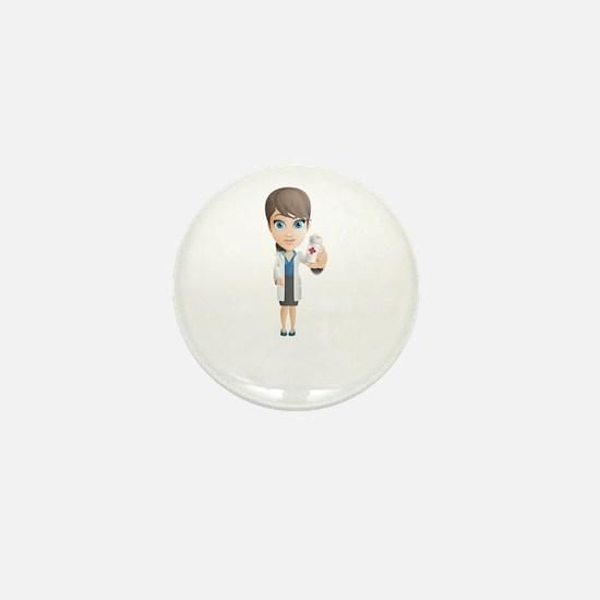 Cartoon Female Doctor Character holdin Mini Button
