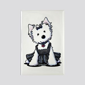 KiniArt Westie LBD Rectangle Magnet